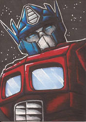 Optimus Prime Sketch Card by Ross-A