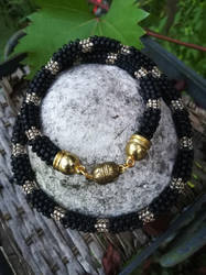 Matte black necklace made of Japanese Toho beads by Naidiriv