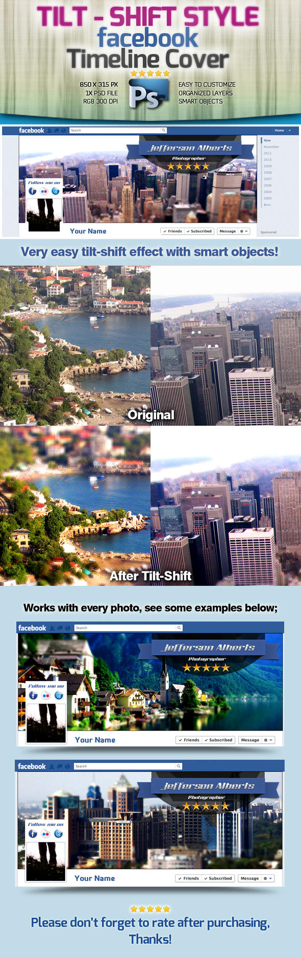 Tilt-Shift Style Facebook Timeline Cover -PSD- by squizmo