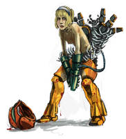 Samus tired and beat-up by myszowor