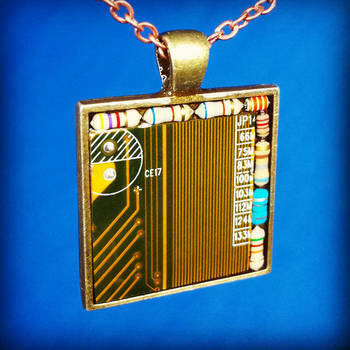Circuit Board Pendant: Brass on Brass by Llyzabeth