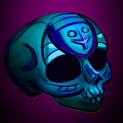 Turquoise Skull with Cross by WolfmanArtist