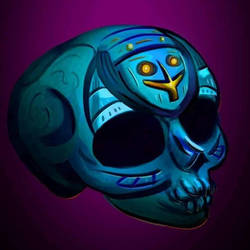 Turquoise Skull w. Cross by WolfmanArtist