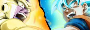 Son Goku Supa Saiya-jin Buru VS Goruden Furiza by Monstkem