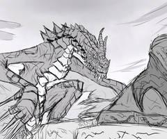 Skyrim: Paarthurnax Sketch by Vidolus