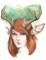 Self with Deer Ears and Antlers by LiminalWorks