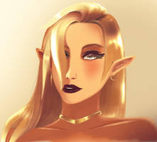 Kashleen the Gold Elf by Raqueliciously