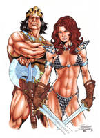 King Kull and Red Sonja commission by Buchemi