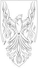 Phoenix Lineart by RavenWhitefang