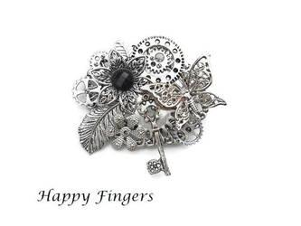 silver key brooch with flower and butterfly by HappyFingersJewelry