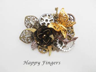 steampunk butterfly brooch silver,gold and bronze by HappyFingersJewelry