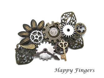 steampunk brooch hat pin by HappyFingersJewelry