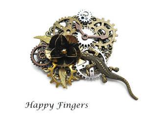 steampunk gecko brooch by HappyFingersJewelry