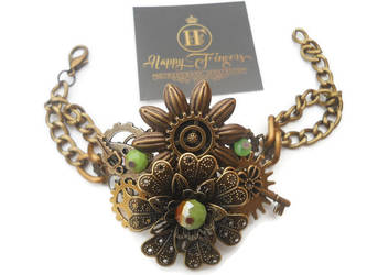 steampunk bracelet green by HappyFingersJewelry