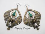 owl malachite earrings by HappyFingersJewelry