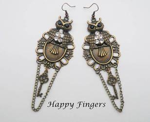 owl earrings with chains by HappyFingersJewelry