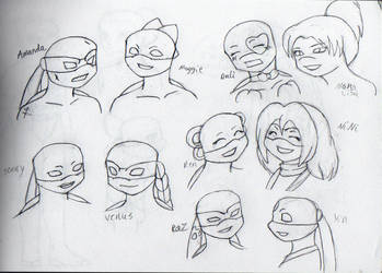 TMNT Girl Headshots by wachey