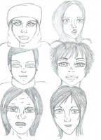 Doodle faces women I by DoodlAnne