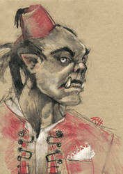 half-orc in a fez by chid0