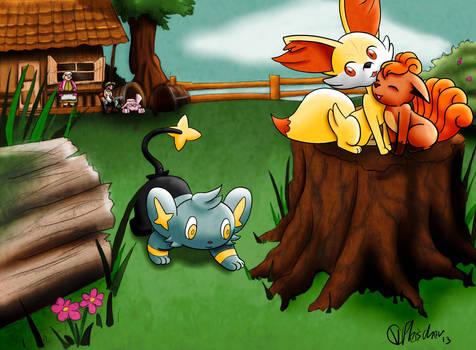 the Fox and the Hound (Pokemon version) by VibaFleischer