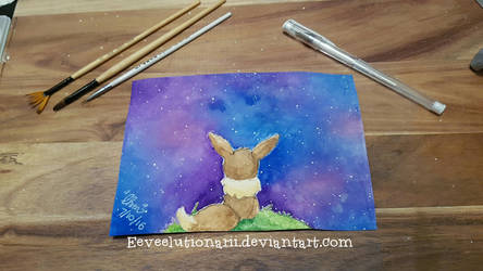 Eevee galaxy - first watercolour attempt by Eeveelutionarii