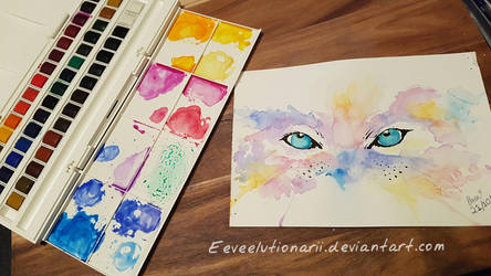 The Cats Gaze - second watercolour attempt by Eeveelutionarii