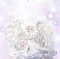 usagi angel wings - sailor moon by zelldinchit