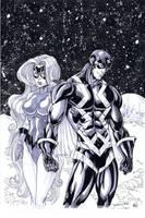 Black Bolt and Medusa by thejeremydale