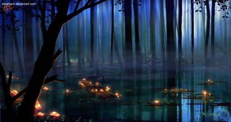 16 5 2016: Swamp lights by eleathyra