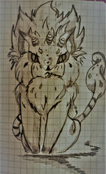 furry fluffy cat monster by kanogt