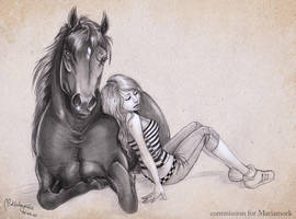 Commission: girl and a horse by AonikaArt