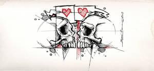 Lovers skulls by Kinglizardart