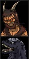 Azal And GMK Godzilla by Enshohma
