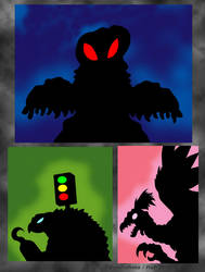 Giant Monster Silhouettes - October 2018 by Enshohma