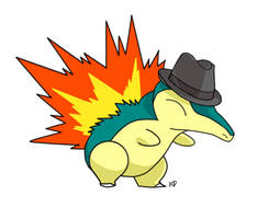 Cyndaquil with a Fedora by kittycheetah14