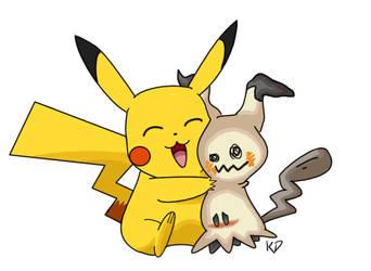 Pikachu and Mimikkyu by kittycheetah14