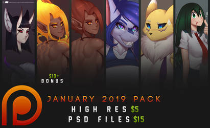 Patreon PSD Pack - January 2019 by DoomXWolf