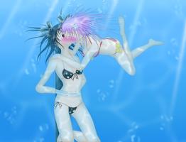 Nepgear x Uni underwater kiss by DoctorH