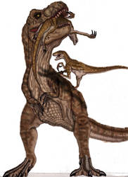 JP T-rex vs. Velociraptors by yankeetrex