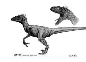 Male Velociraptor Concept Art by yankeetrex
