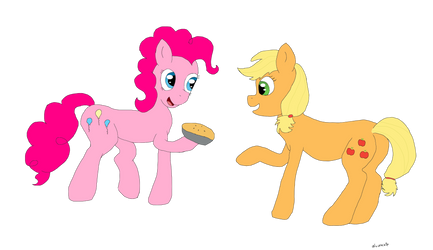Pinkie Pie and a pie for Applejack by alviniscute