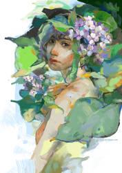[digital art] The dreamer and Hydrangeas by Jillymun