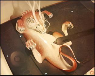 Dragon on my wacom by GaudiBuendia