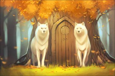 White wolves by GaudiBuendia