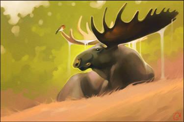 Moose and a bird by GaudiBuendia