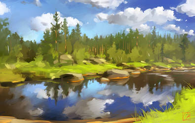 river sketch by GaudiBuendia
