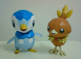 Piplup and Torchic by aquametal