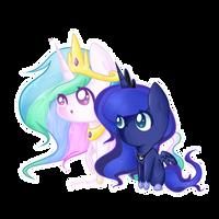 Princess Celestia and Luna by ponibun