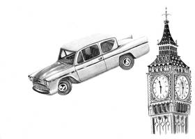 Ford Anglia over London by FlashofWildfire