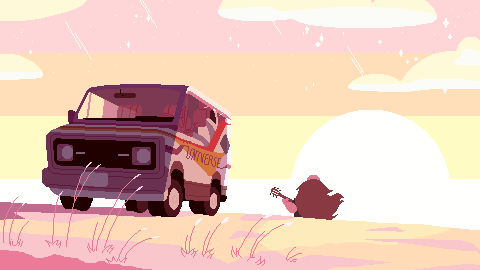 a pixelized screenshot trace of my favorite scene from the most recent steven universe episode. the van was quite fun to do especially. these are good practice for figuring out the best way to pixe...